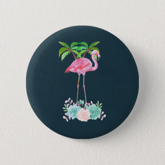 Pink Flamingo Palm trees and Floral Succulents 6 Cm Round Badge