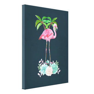 Pink Flamingo Palm trees and Floral Succulents Canvas Print