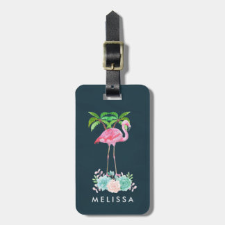 Pink Flamingo Palm trees and Floral Succulents Luggage Tag