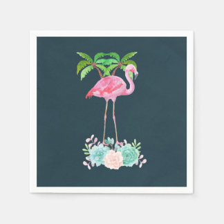 Pink Flamingo Palm trees and Floral Succulents Paper Napkin
