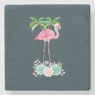 Pink Flamingo Palm trees and Floral Succulents Stone Coaster