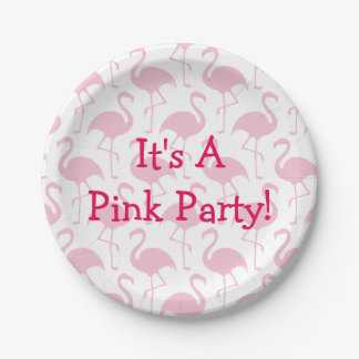 Pink Flamingo Party Paper Plate