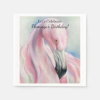 Pink Flamingo Pastel Art Paper Napkin