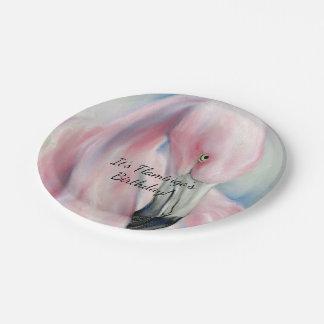 Pink Flamingo Pastel Art Paper Plate