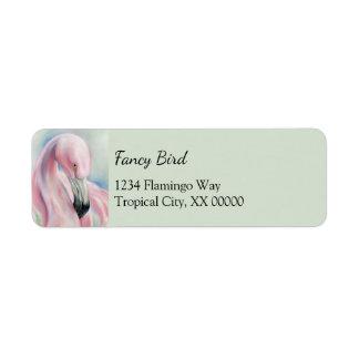 Pink Flamingo Pastel Art Personalized Return Address Label