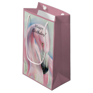 Pink Flamingo Pastel Art Small Gift Bag