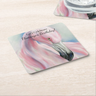 Pink Flamingo Pastel Art Square Paper Coaster