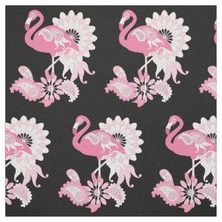 Pink Flamingo Pattern Girly Cool Custom Black Fabric
