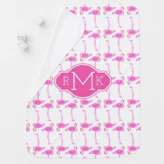 Pink Flamingo Pattern | Monogram Baby Blanket