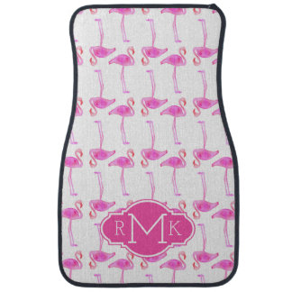 Pink Flamingo Pattern | Monogram Car Mat