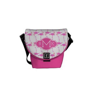 Pink Flamingo Pattern | Monogram Courier Bags