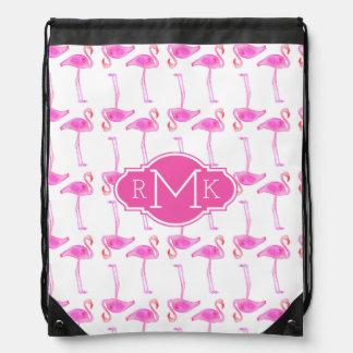 Pink Flamingo Pattern | Monogram Drawstring Bag