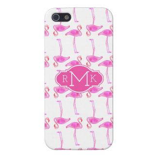Pink Flamingo Pattern   Monogram iPhone 5/5S Cases