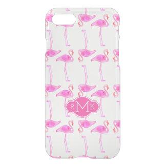 Pink Flamingo Pattern | Monogram iPhone 8/7 Case