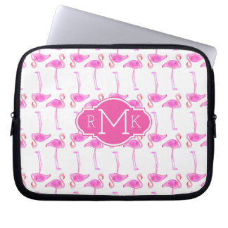 Pink Flamingo Pattern | Monogram Laptop Sleeve
