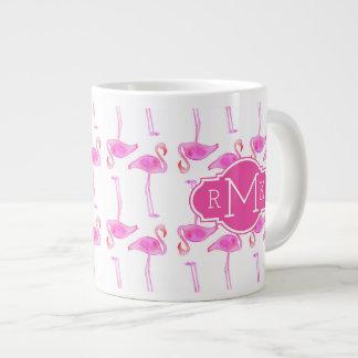Pink Flamingo Pattern | Monogram Large Coffee Mug