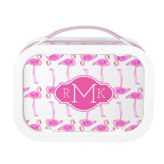 Pink Flamingo Pattern | Monogram Lunch Box
