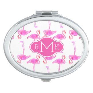 Pink Flamingo Pattern   Monogram Makeup Mirror