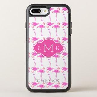 Pink Flamingo Pattern | Monogram OtterBox Symmetry iPhone 8 Plus/7 Plus Case