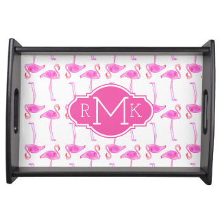 Pink Flamingo Pattern | Monogram Serving Tray