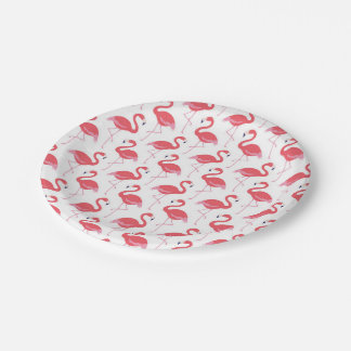 Pink Flamingo pattern party paper plate