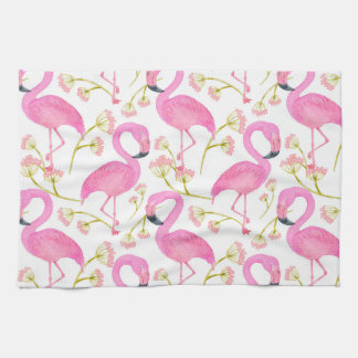 Pink Flamingo Pattern Tea Towel