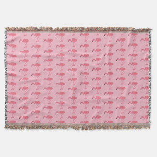Pink Flamingo Pattern Throw Blanket
