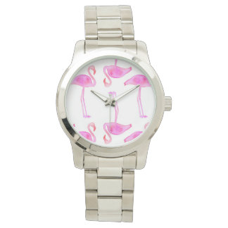 Pink Flamingo Pattern Watch