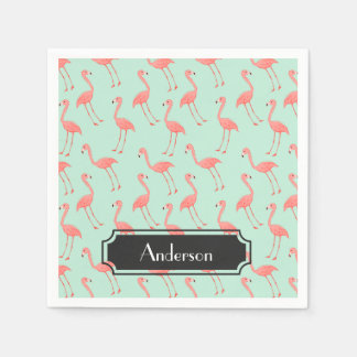 Pink Flamingo Pattern with Family Name Disposable Serviette