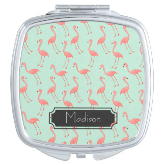 Pink Flamingo Pattern with First Name Compact Mirrors