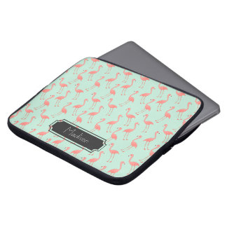 Pink Flamingo Pattern with First Name Laptop Sleeve