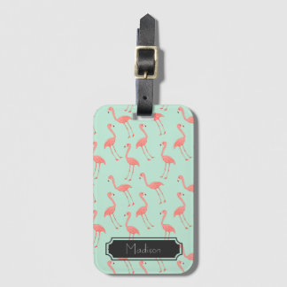 Pink Flamingo Pattern with First Name Luggage Tag