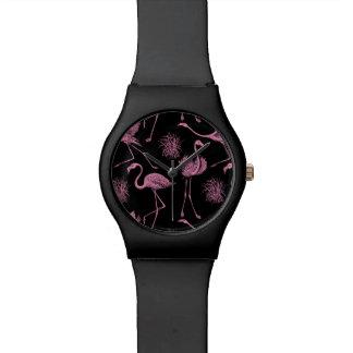 Pink Flamingo Pattern Wristwatches
