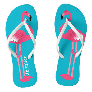 Pink Flamingo Personalised Flip Flops