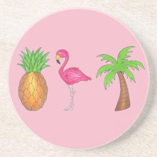 Pink Flamingo Pineapple Palm Tree Tropical Island Coaster