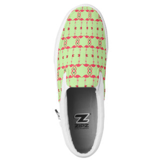 Pink Flamingo Repeat Abstract Lime Green Sneaker Printed Shoes