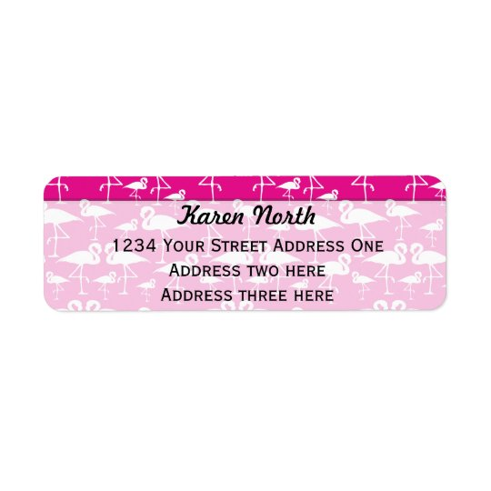 Pink flamingo return shipping label