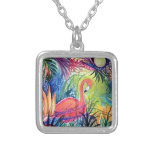 Pink Flamingo Sanibel Midnight Watercolor Painting Personalized Necklace
