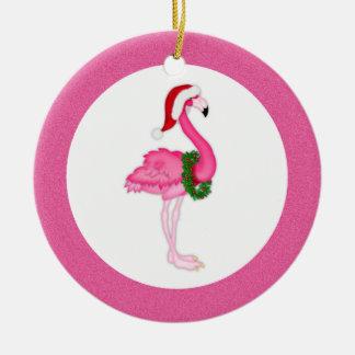 Pink Flamingo Santa Christmas Ornament