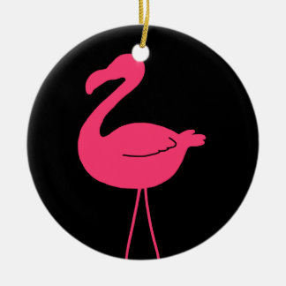 Pink Flamingo Silhouette Christmas Ornament