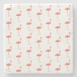 Pink Flamingo Simple Pattern Stone Coaster