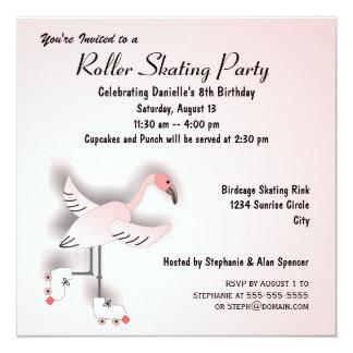 Pink Flamingo Skating Party Invitation