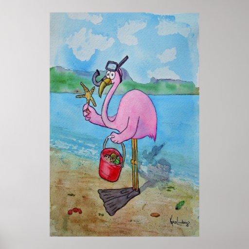 Pink Flamingo Snorkle Scuba Beach Whimsical Poster