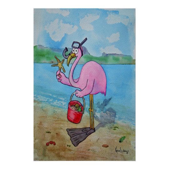 Pink Flamingo Snorkle Scuba Beach Whimsical Poster