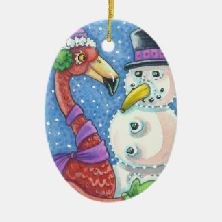 Pink Flamingo Snowman CHRISTMAS ORNAMENT