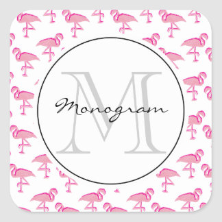 Pink Flamingo Square Stickers