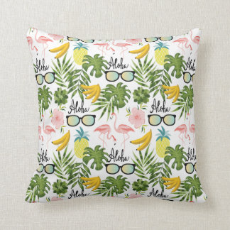 Pink Flamingo Sunglasses Tropical Aloha Pattern Cushion