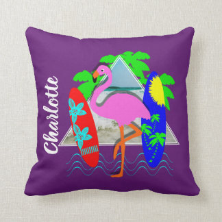 Pink Flamingo Surfing Surf Boards Personalized Cushion