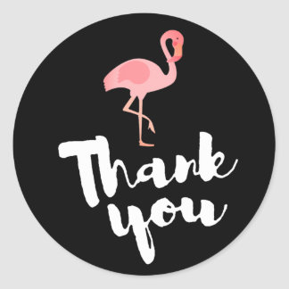 pink flamingo thank you on black classic round sticker