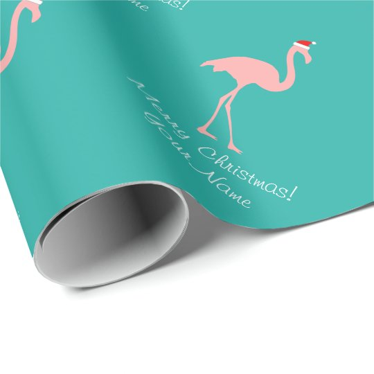 Pink flamingo tropical Christmas wrapping paper